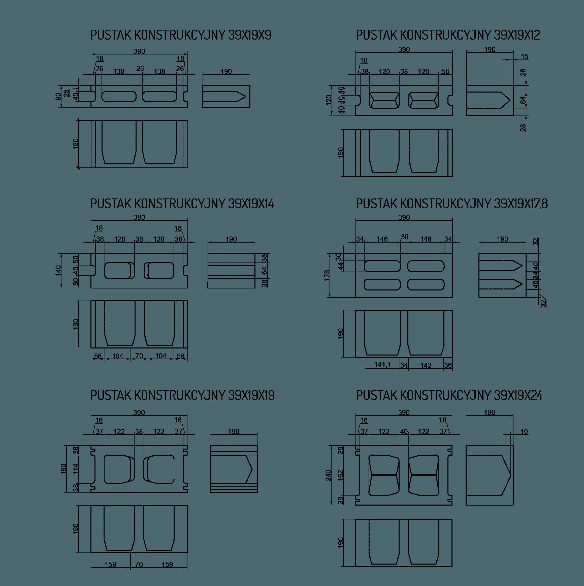 konstrukcyjne pustaki